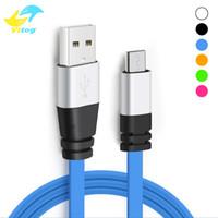 cordon de nouilles pour micro achat en gros de-2.0A réel haute vitesse 1 M 3FT Micro USB type de nouille plate c Chargeur de câble Sync Données Ligne de charge supplémentaire Ligne de charge en aluminium tête de métal