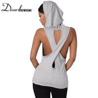 Wholesale Royal Blue Vest L - Dear lover Grey Black Royal Blue Hooded Cross Back Stylish Casual Style Vest Top Summer sleeveless casual tank Tops 2017 LC25802