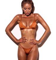 seksi kadınlar bikini beach toptan satış-Bayanlar Seksi Üçgen Plaj Kadınlar için Mayo Mayo Vintage Bikini Set Avrupa ve Amerikan Saf Renk Bikini Mayo