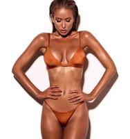 trajes de baño vintage al por mayor-Traje de baño de traje de baño sexy para mujer de Triángulo de playa Conjunto de bikini vintage para mujeres Bikini de color puro de Europa y América