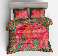 ingrosso elefante gemello-3pcFashion 3D set biancheria da letto in elefante Boemia doppia pieno regina King copripiumino con federa colorata stampato copripiumino indiano