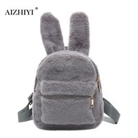 Wholesale mini plush bunnies - Rabbit Bunny Ears Backpacks Korean Cute Backpack Cartoon Bag for Girls Japanese LOLITA Girl Cotton Plush Backpacks Felt Bag