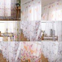 decoraciones de mariposa amarilla al por mayor-1 unids Mariposa Tulle Voile Door Window Cortina Panel Draper Sheer Bufanda Cenefas Habitación Interior Balcón Cortinas Decoración Del Hogar YF