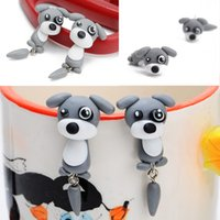 Cute 3D Dog Polymer Clay Earrings Ear Studs Cartoon Pet Criativo Charm Animal Brincos para mulheres Jóias Presentes de Natal D448L