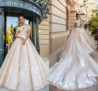 Discount gorgeous gown design - Gorgeous 2018 Crystals Design Wedding Dresses New A-line Ruffles Sweetheart Lace Applique Bridal Gown Chapel Train Beautiful Bridal Dress