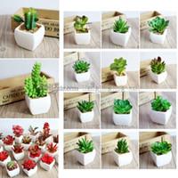 Wholesale fake pot plants - 65 Styles Artificial Succulents Plant pots planters artificial plants with vase bonsai Garden Fake Cactus DIY Home Floral Decor AAA508