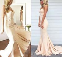 Wholesale Vestidos Color Melon - Prom Dresses 2018 Elegant Simple Sexy Sweetheart Off-shoulder Mermaid Evening Gowns Nude Color Plus Size Custom Made Vestidos De Festa