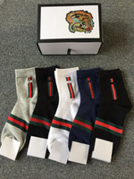 Wholesale Cotton Gifts For Men - 5pairs box fashion tiger socks 2 black 1white 1 grey 1dark blue color Cotton socks for men women with gift box