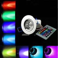lámparas de techo led de 12v dc al por mayor-3W RGB Focos empotrables de LED Foco empotrable lámpara de luz Bombillas AC 90V-260V 3W downlight AC / DC 12V Fiesta de cumpleaños Luces de colores