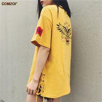 Wholesale Woman Korean Clothing Style - Hot!! Girl's fashion oversized t shirt harajuku punk rock short sleeve tee shirts women side lace up korean style tops clothes