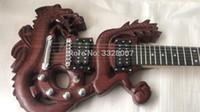 chinesische hohlkörpergitarre großhandel-Custom Shop Spezielle chinesische loong Form Körper elektrische Gitarre, aushöhlen Design, 3D geschnitzten chinesischen Dragon Body;