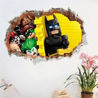 Wholesale Batman Movie Poster - Cartoon Movie Star Batman wall stickers for kids room 3d broken wall decals Mural Poster Boy's Birthday Gift home decor