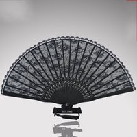 Wholesale art paper folding online - Black Antiquity Cheongsam Real Silk Lace Fold Fans Hand Round Fan Dance Wedding Favors For Guest Gifts Arts And Crafts15mg gg