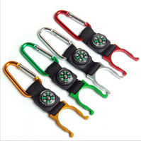 Wholesale chain clips locks for sale - Group buy Mountaineering Carabiner Compass Multifunction Keychain Key Chain Camping Hiking Water Bottle Clip Hook Buckle Lock Strap Holder KKA4888