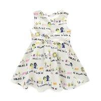kostüm elbiseleri toptan satış-Lolita Pamuk Kolsuz Tekne Boyun Elbiseler Fasion Yaz Mektubu Prenses Elbiseler Diz Boyu Pembe Beyaz Sevimli Çocuklar Kızlar Için Sevimli