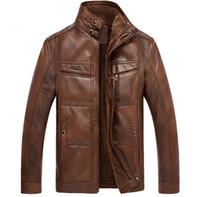ingrosso giacche casual per uomo-Giacca in pelle Uomo Cappotti Marca Alta qualità PU Capispalla Uomo d'affari Inverno Faux Fur Giacca maschile Felpa Plus Size for Men Alta qualità Nuovo