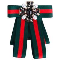 böhmische vintage-pins großhandel-Geburtstagsgeschenk böhmischen Stil Bogen Knoten weibliche Pins Acryl Nachahmung Perlen Mode Broschen Vintage Striped Pin Schmuck für Weihnachtsfeier