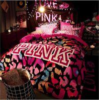 Wholesale velvet bedding sets - KALAMENG VS Secret Pink Soft Print Crystal Velvet Victoria Pink Comforter Bedding Set Bed Sheets 4PCS Duvet Cover Set Bedspread