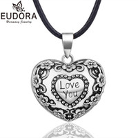 шкентель сердца шарика гармонии оптовых-EUDORA гармония мяч ожерелье Сердце перезвон Бола цветок кулон для женщин ювелирные изделия подарок мексиканской беременности мяч 45