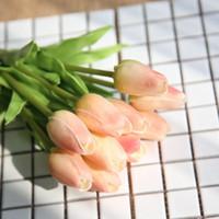 Wholesale cheap artificial wreath online - 30pcs Tulip Artificial Flower Cheap PU Plastic Bouquet Real Touch Flowers for Home Wedding Decorative Fake Flowers Wreaths