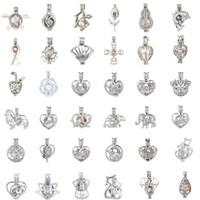 collier cadeau oyster achat en gros de-Collier de perles d'argent Plus de 80 styles huître perle cage pendentif en argent collier Belle Dame charme surprise cadeau de Saint Valentin