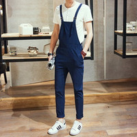 a413a3460bc 2017 Spring Men Slim Fit Overall Black Blue Mens Suspender Pants Long  Fashion Casual One Piece Jumpsuit For Men