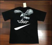 camisa fresca do leão venda por atacado-18ss EUA Verão Hip Hop Logotipo Colaboração Leão Águia T Skate Cool Men Roupas Femininas de Algodão De Luxo Casual camiseta