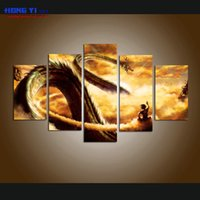 Wholesale Nude Oil Painting Large - Large Modern Giclee Print Art Cartoon Dragon Ball Z Painting Canvas Print Wall Home Decor 5 Piece Painting picture for Living Room Decor