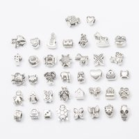Wholesale zodiac accessories online - 40pcs mm Hole diameter Mix Styles Loose Beads Charm DIY Jewelry Accessory Pendant For Keyring Bracelet Necklace