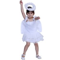 Wholesale children s holiday clothes for sale - Group buy Cosplay Costume Kids Wave Angel Performance Sets White Angel Dress for Children Halloween Holiday Party Clothing Headwear Dress Wings