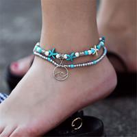 ingrosso sandali perline-Cavigliera a onde Bohemian per le donne Vintage Multi Layer Bead cavigliera Bracciale con cinturino in pizzo Boho Gioielli di fascino estate fai da te