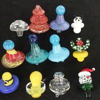 Wholesale glow dark glasses wholesale - UFO Duck style Carb Cap dome for Quartz Banger Nail domeless glass bongs Glow In Dark Santa Claus Christmas tree glass cap