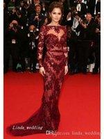 vestidos formales de vino oscuro al por mayor-Vestido Burdeos Burdeos Vino Oscuro Rojo Cheryl Cole Vestido de noche Nueva llegada de manga larga de encaje Fiesta formal Vestido de fiesta