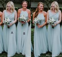 bohemia yeşil elbise toptan satış-2019 Nane Yeşil Şifon Bohemia Uzun Gelinlik Modelleri Halter Kat Uzunluk Düğün Konuk Onur Hizmetçi Vestidos De Festa BM0168