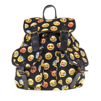 ingrosso zaino nero emoji-La nuova borsa sveglia delle donne sveglie del doppio dello zaino del sacchetto di scuola del modello di scuola del modello di emoji nero stampato spedice il trasporto libero all'ingrosso