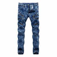 хип-хоп уличные танцевальные джинсы оптовых-Top quality 2018 Fashion Casual slim fit Multi Zipper nightclub hip hop dance street straight blue snow men's trousers men jeans