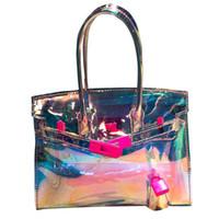 db24231864 Borsa donna ologramma moda estate borsa da spiaggia trasparente borsa  piccola messenger bambina festa in plastica pvc con serratura