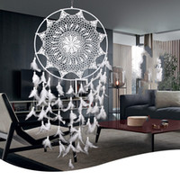 Wholesale Large Hanging Ornaments - Large White Handmade Dream Catcher With Feathers Wall Hanging Decoration Home Garden Living Room Ornament Dreamcatcher