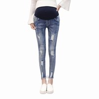 f267069bd3e85 Pengpious spring and autumn Korean style pregnant women jeans abdomen  pencil pants maternity high waist ankle-length trousers