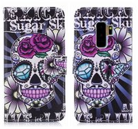Wholesale skull cell case - Skull Wallet Cases For Samsung Galaxy S9 Skin S9 Plus Leather Flower Butterfly Card ID Cash Flip Cover PU Purse Bear Cell Phone Pouch+Strap