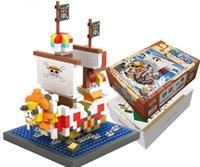 ingrosso un pezzo mini figure-Mini figure ONE PIECE Going Merry e THOUSAND SUNNY 8-11cm Building Blocks Set Mattoncini giocattolo per bambini