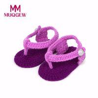calcetines de los zapatos del bebé del ganchillo al por mayor-MUQGEW Nueva Moda Zapatos de Bebé Cuna Crochet Casual Niñas Bebés Hecho A Mano de Punto Calcetín Rosas Zapatos Infantiles 15