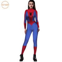 homens traje do bodysuit venda por atacado-ISTider Spiderman Costume 3D Blue Print Spider-Man Red Bodysuit para o Dia das Bruxas Cosplay Sexy apertado macacãozinho Womens Jumpsuit