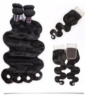 Wholesale ombre mink hair for sale - Group buy Water Wave Bundles With Lace Closure Mink Brazilian Straight Jet Natural Black Color Hair Bundles With Closure Weaves Deep Wave