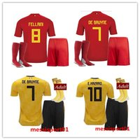 gold cup socks 2018 - Belgium Soccer Jersey +SOCKS 2018 World Cup LUKAKU FELLAINI E.HAZARD DE BRUYNE Adult suits 18 Belgium football FULL kits