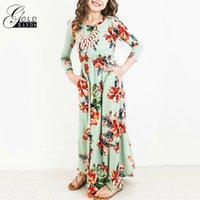 Wholesale black floral tunic - Baby Girls Princess Long Dress Fashion Trend Bohemian Dress for Girls Beach Tunic Floral Autumn Maxi Dresses Kids Party Dresses