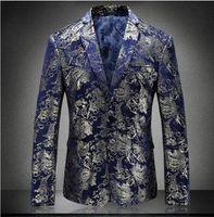 vestes d'or de bal pour les hommes achat en gros de-Floral Blazer Hommes 2018 Automne Hommes Velours Blazers Rouge Bleu Or Blazer Pour Hommes 5XL De Mariage De Parti Costume Veste