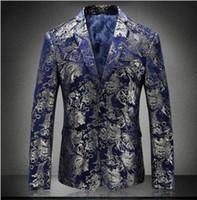 mavi çiçek ceketi toptan satış-Çiçek Blazer Erkekler 2018 Sonbahar Erkek Kadife Blazers Erkekler Için Kırmızı Mavi Altın Blazer 5XL Düğün Balo Parti Suit Ceket