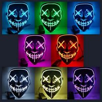 Wholesale cold light el for sale - 10styles Halloween El Wire Cold Light Line Ghost Horror Mask LED Party Cosplay Masquerade Street Dance Halloween Rave Toy AAA1066