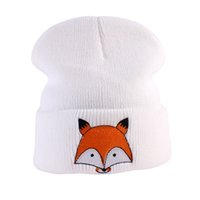 ingrosso modello beanie per bambini-Winter Kids Toddlers Neonati maschi Ragazzi Fox modello lavorato a maglia cappello caldo Beanie Cap